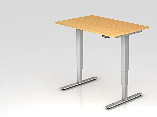Elektrisch höhenverstellbarer Schreibtisch, 120x80cm, Buche