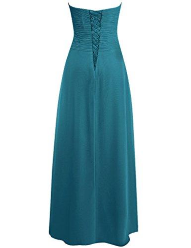 JAEDEN Sans bretelles Mousseline de soie Robes de demoiselles d'honneur Longue Robe de bal Robe de f¨ºte Jade