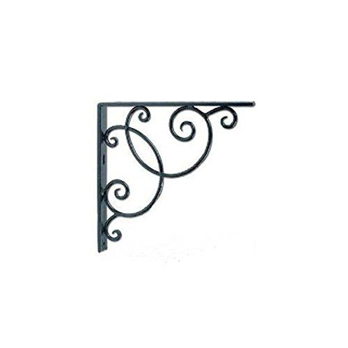 WINOMO Wandmontierte Floral Dreieck Stil Regal Klammern für Bookrack - 2ST (Schwarz)