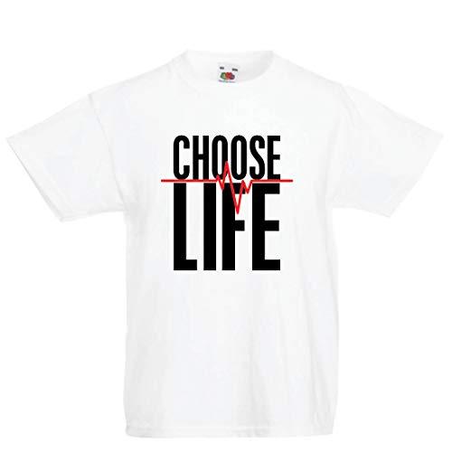 en/Mädchen T-Shirt Wählen Sie das Leben Herzschlag, Anti-Abtreibung politischen Protest, Christian Zitat (7-8 Years Weiß Mehrfarben) ()