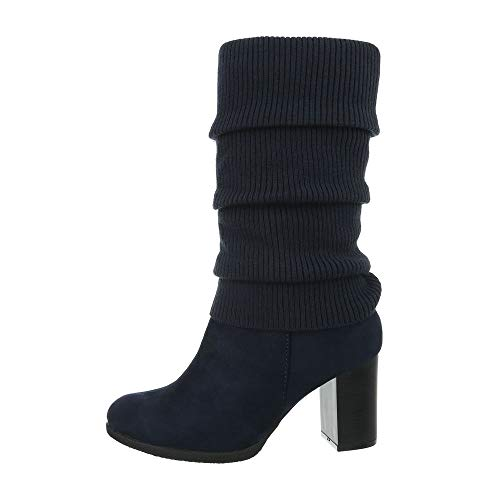 Ital-Design Damenschuhe Stiefel High Heel Stiefel Synthetik Dunkelblau Gr. ()