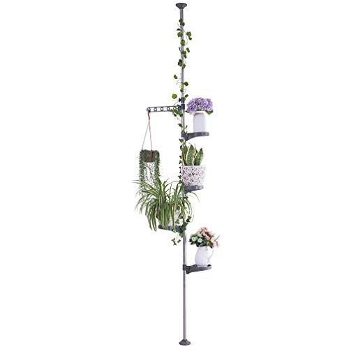 Preisvergleich Produktbild Hershii 5-lagige Pflanzenstange für den Innenbereich,  Federspannstab für Ecken,  Blumen,  Ständer für Blumentöpfe,  Teleskop-Boden bis Decke,  platzsparend grau