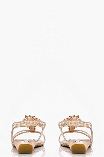 Damen Rose Gold Natalie Verzierte Sandalen In Metallic-optik Rose Gold