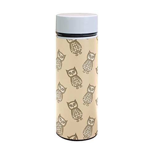 EZIOLY Cartoon Eulen in Beige Tönen Vakuum Isolierte Edelstahl Becher Wasserflasche Reise Kaffee Thermos 350 ml (Eule Thermo Becher)