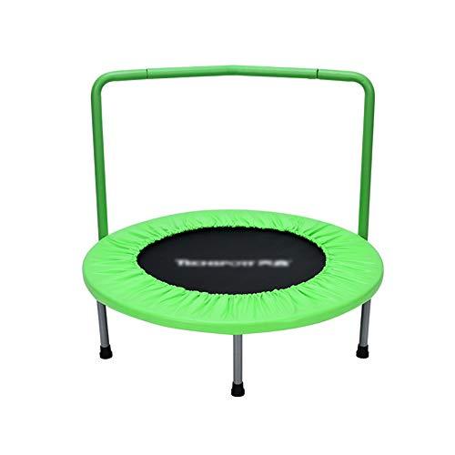 36-Zoll-Trampolin mit Handlauf Mini-Trampoline Portable Jogging Fitness Erwachsenen-und Kinder-Übung Ausrüstung Springen Bett (Farbe : Green)