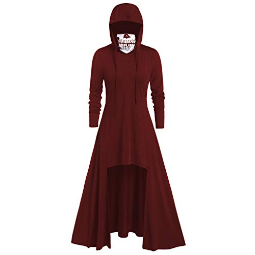 Plus Kostüm Größe Gothic - T-Shirt Damen Gothic Punk Langarm Hoodies Kleid Plus Größe L-5XL Piebo Frauen Lange Ärmel Top Shirt Steampunk Kostüme Lange Jacken Pullover Schädel Maske mit Kapuzen Oberteile Freizeit Streetwear