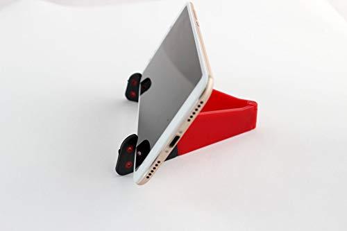 Canans Faltbare Handyhalter to go in rot und schwarz | Halterung für Smartphones, Ipads und Tablets | Für Schreibtisch, Flugzeug, Küche | Verstellbar, klein und leicht