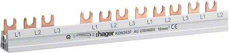 Busch-Jaeger Hager KDN363F Phasensch. 3P+N 63A 10qmm 12 Einh.Gabelanschluss isoliert grau