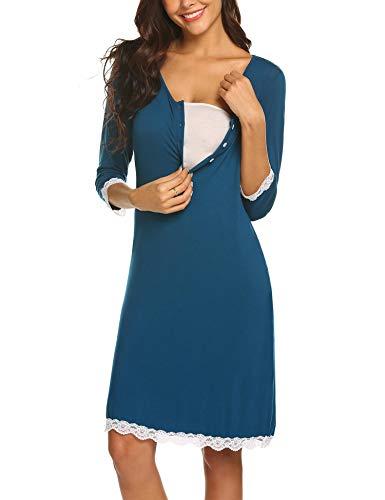 Maxmoda camicia da notte pizzo allattamento vestito elegante pigiama manica 3/4 blu s