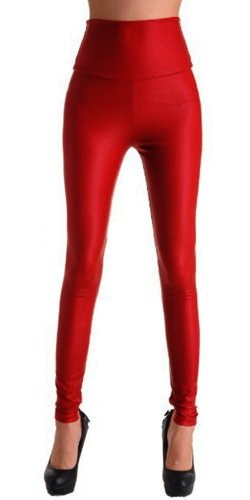 ggings Leggins Damen | Sexy PU Lederhose Strumpfhosen in schwarz, rot u.v.m. (leg_led_vielf) (S (34/36), Kirschrot) ()