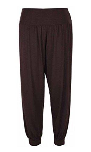 Pantalon pour femmes Pleine longueur Ali Baba Pantalon Sarouel Baggy Marron