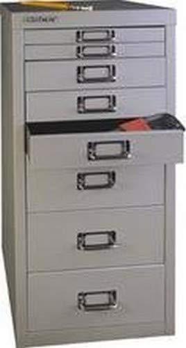 BISLEY MultiDrawer, 29er Serie, DIN A4, 8 Schubladen, 355 Silber, 38 x 27.9 x 59 cm -