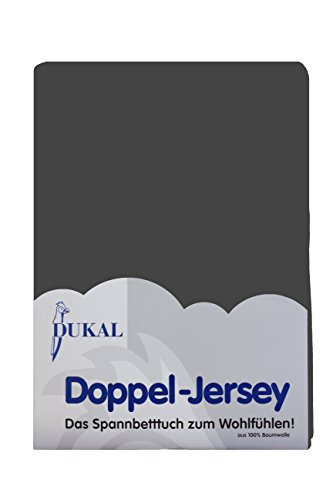 DUKAL, Spannbettlaken, für runde & achteckige Matratzen! Durchmesser ca. 240-245 cm, aus hochwertigem DOPPEL-JERSEY (100% Baumwolle), Farbe: anthrazit -