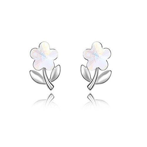 Erica Plaqué or cristal autrichien en forme de fleur Boucles d'oreilles pour Femmes Filles white