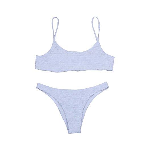 Strungten Damen Cami Smocked Bikini-Sets mit Spaghetti-Träger Bikinis Set Brazilian Sport Push-Up Wickeln Swimsuit Sexy Badeanzug gepolsterter Sommer High Cut Unterteil Beachwear Zweiteilige