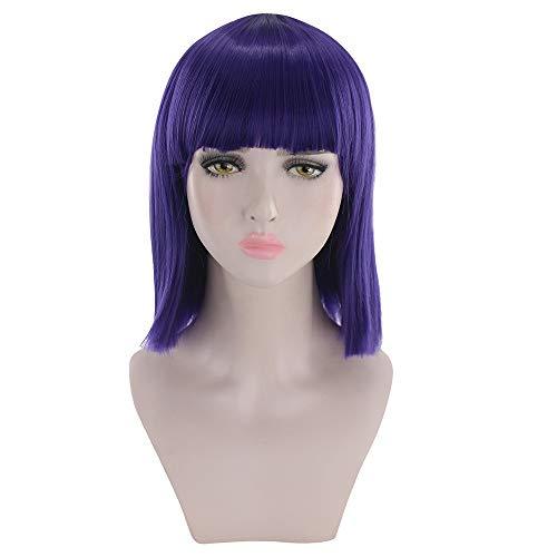 Rifuli® Perrücke Kurze gerade hitzebeständige Kunsthaar grau Natur schwarz Womens Kurze Haarperücke