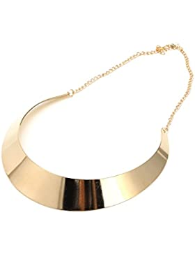 Dairyshop Anello d'argento dorato placcato oro d'argento dell'annata dell'annata Collana in lega di metallo unica