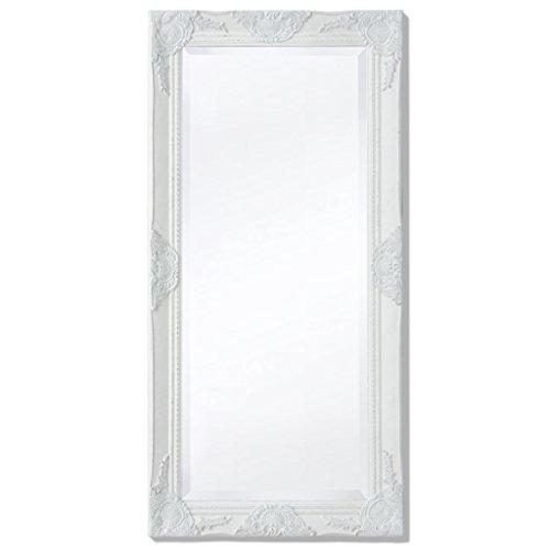 Festnight Espejo de Pared Estructura de Madera Estilo Barroco 100x50 cm Blanco