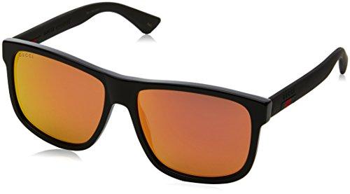 Gucci Herren GG0010S 002 Sonnenbrille, Schwarz (Black/Red), 58