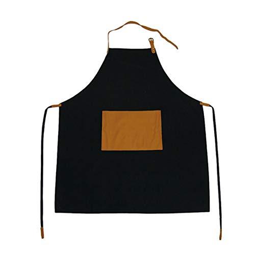 WQYH Weihnachtsschürze Schwarz Leder Nackenband Gürtel Schürze Körper Baumwolle Einstellbare Latzschürze Kochen - Gürtel Grill