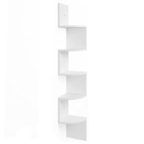 Vasagle scaffale angolare a parete con 5 ripiani, mobile di legno per cucina, camera da letto, soggiorno, studio, bianco lbc20wt