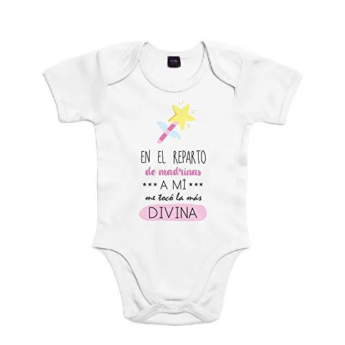 SUPERMOLON Body bebé algodón En el reparto de madrinas a mi me tocó la más divina 6 meses Blanco Manga corta