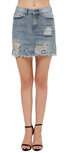 Urban GoCo Donne Gonna di Jeans Slim Minigonna di Denim Elasticizzato con Elementi Effetto Destroyed Blu chiaro