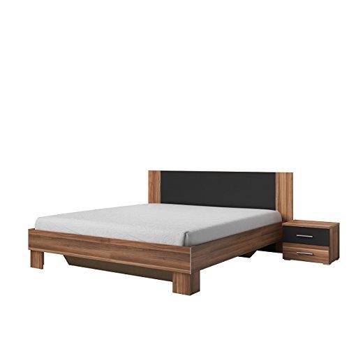 Mirjan24 Doppelbett Vera mit Zwei Nachttische, Elegante Bett für Schlafzimmer, 2 Größen, Familienbett, Schlafmöbel, Farbauswahl (180x200 cm, Nuss Rot/Schwarz)
