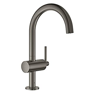 GROHE Atrio Lavabo de baño Grafito – Grifos de baño (Lavabo de baño, Grafito, Metal, Grifos de palanca, Solo, 1/2″)