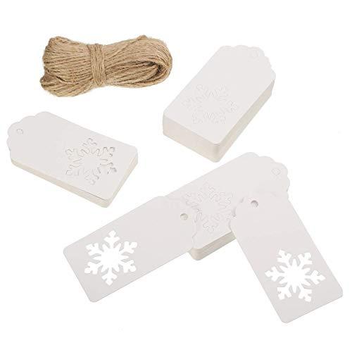 100 pièces Papier Kraft étiquettes Cadeau Flocon de Neige Creux Crafts Suspendre Label avec 30 metres Ranken pour Noël Hiver de fête de Mariage Cadeau d'anniversaire (Blanc)