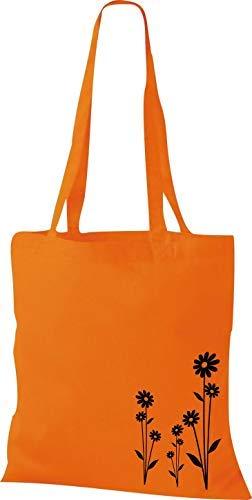Shirtinstyle Stoffbeutel Flower Ornament Blume Baumwolltasche Beutel, diverse Farbe orange