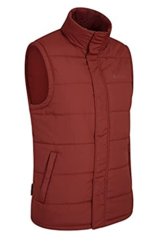 Mountain Warehouse Penzance Men's Padded Gilet - Waterproof Shell, Warm Microfiber Filling with Storm Flap & Two Zipped Side Pockets - Ideal for Layering Up Outfit Dark Red