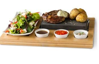 Steak Stones At Home 1 x Bamboo Board 7 Piece Steak Stone Set Black Lava Rock Sizzling Hot Plate With Bowls Gift Boxed