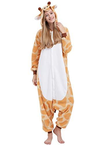 Jumpsuit Onesie Tier Karton Fasching Halloween Kostüm Sleepsuit Cosplay Overall Pyjama Schlafanzug Erwachsene Unisex Lounge Kigurumi Giraffe for Höhe 140-187CM
