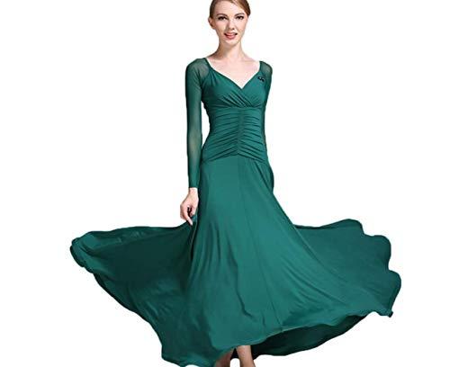 odernes Tanzkleid Für Frauen National Standard Ballsaal Tanz Outfit Spitzennähte Tango Walzer Übungsrock Tüll-Schaukel,B,XXL ()