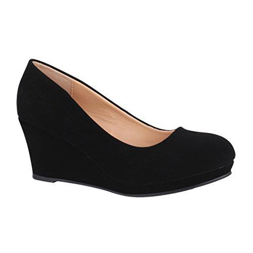 Elara Damen Pumps Keilabsatz Schuhe mit Plateau Chunkyrayan B8011Y-PM-Schwarz-38