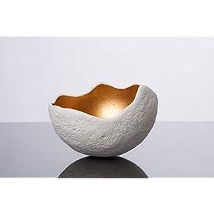 Lichtschale gold – M (20cm) – Beton weiss – Unikat handmade – Geburtstagsgeschenk – Einzigartiges Geschenk – Gartendeko