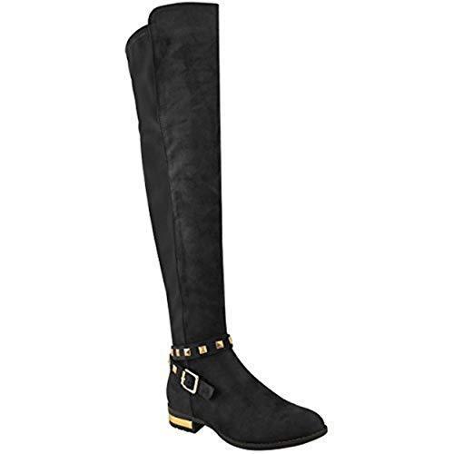 Stretch-reitstiefel (Fashion Thirsty Damen Overknee-Stiefel im Reitstiefel-Stil - Stretch-Material - Goldfarbene Details - Schwarzes Veloursleder-Imitat - EUR 40)