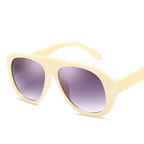 DAIYSNAFDN Große Sonnenbrille Frauen Brille Retro Kunststoff Sonnenbrille Vintage Yellowdoublegray