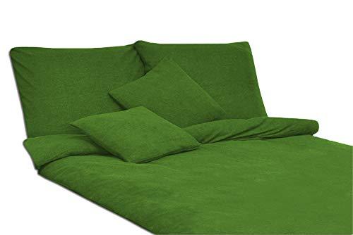 MODHAUS Bettwäsche Set Frottee einfarbig schöne Farben viele Größen / 2.Anzeige (dunkelgrün, 135x200)