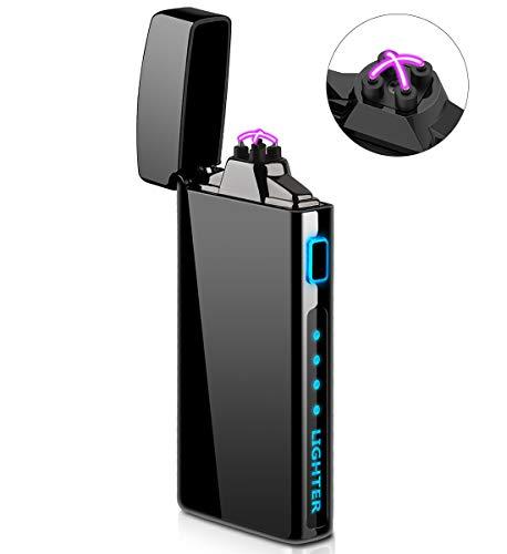 Briquet Électrique, Briquet Coupe-Vent Rechargeable USB avec Indicateur de Batterie pour Cigarette, Bougies, Feux d'artifice - S2000