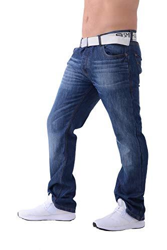 Smith & Jones Herren Designer Bootcut Fit Denim Jeans Hose in Allen Taillen und Beingrößen Stone Wash 48W X 30L