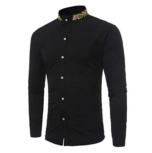 ZJEXJJ Herren Freizeithemd Personalisiertes Besticktes Hemd Herren Stehkragen Slim Shirt (Farbe : Schwarz, größe : M) - Schwarzes Besticktes Hemd