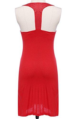 ERGEOB Damen Strass mercerisierter Baumwolle Strandkleid Sonnenschutz Kleidung Strand 06 lila