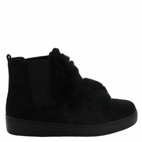 Ideal Shoes - Bottines style chelsea effet daim avec fourrure Pierrette Noir