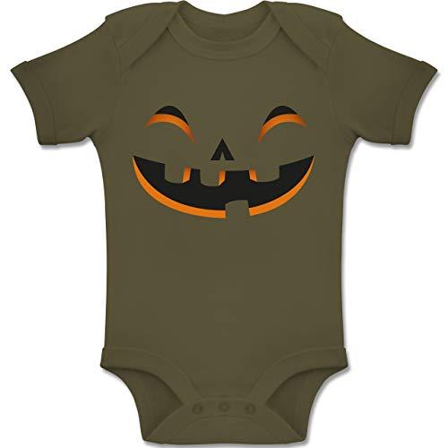 Shirtracer Karneval und Fasching Baby - Kürbisgesicht Kostüm - 1-3 Monate - Olivgrün - BZ10 - Baby Body Kurzarm Jungen Mädchen