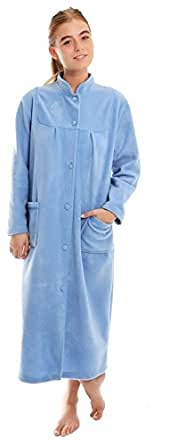 Ladies Button Front Soft Fleece Dressing Gown[10/12,Blue]