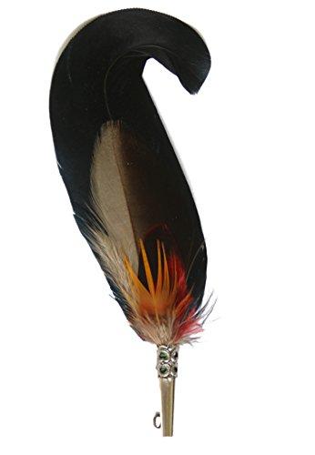 Echte Hutfeder | Hutanstecker | Hahnenfeder – von Hahn, Fasan - Handgemacht - Accessoir für den Trachtenhut – Inkl. Hülse – 14 x 3 cm