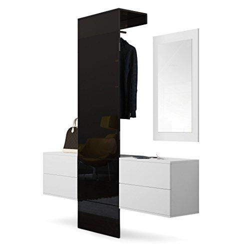 Garderobe Wandgarderobe Carlton Set 3, Korpus in Weiß matt / Paneel in Schwarz Hochglanz