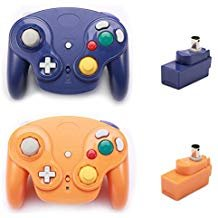 poulep Classic 2,4 G Wireless Controller Gamepad mit Empfänger-Adapter für Wii U Gamecube NGC GC. Purple and Orange - Controller Classic Wii Adapter